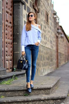 Get this look: http://lb.nu/look/8482643  More looks by Marianela Yanes: http://lb.nu/marilynscloset  Items in this look:  Sheinside Blouse, Zara Jeans, Stradivarius Flats, Bimba Y Lola Bag   #casual #classic #elegant