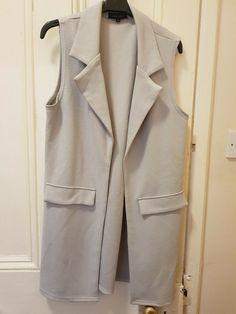 New Ladies Womens Sleeveless Long Waistcoat Open Front Stylish Crepe Pocket Jacket Coat PLUS SIZE