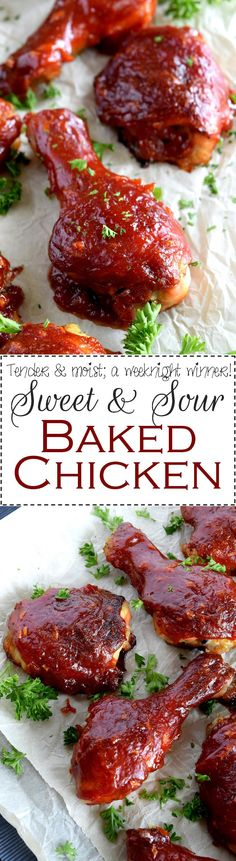 Easy Sweet and Sour Baked Chicken - An Easy Sweet and Sour Baked Chicken that's moist and tender, basted with a thick, luscious sauce; inexpensive, delicious, and a crowd-pleasing option for any meal.