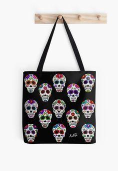 Martha´s mexican skulls (calacas). http://www.redbubble.com/people/mmducoing/works/14194006-martha-s-mexican-skulls-calacas-i?p=tote-bag