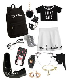 """Cats!"" by katenokm10 on Polyvore featuring мода, Casetify, Hot Topic, PBteen, Forever 21, LC Lauren Conrad и Gucci"