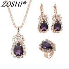 Fashion Wedding Gift Jewelry Gold Water Drop Shape Crystal Earrings  Necklace Adjustable Rings Set Women Jewelry Sets a4dba203f8e4