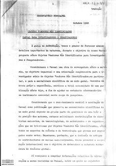 Primeira página do Manual de observação de objetos voadores não identificados, preparado pelo Observatório Newchapel, Inglaterra, e enviado à Embaixada do Brasil em Londres, outubro de 1968. Arquivo Nacional. Fundo Objeto Voador Não Identificado. BR_DFANBSB_ARX_0012_p0001_0005_m