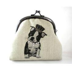 Screen Printed Frame Purse Boston Terrier by ilovetreasures, $30.00