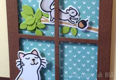 Cat at the window card cat avery elle Furry Friends clear stamp squirrel lawn fawn critters in the burbs window memorybox die cut bazzill cardstock, fabric