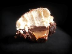 Rolo Brownie Bites with Caramel Cream Cheese Icing