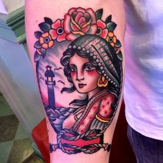 tattoo old school / traditional nautic ink - pinup with lighthouse (byPaul Anthony Dobleman)