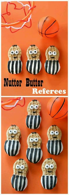 so cute - Nutter Butter football referees! Fun for a Super Bowl party! Make the right call with this quick treat for March Madness. Nutter Butter Referees cookies are dipped in white chocolate and dressed up as referees. Basketball Party, Basketball Birthday, Sports Birthday, Sports Party, Birthday Parties, Cake Birthday, Basketball Cupcakes, Basketball Drills, Nike Basketball