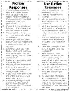 {FREEBIE} Reading response questions great resource for teachers or parents to…