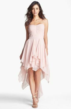 Hailey by Adrianna Papell Pleat Chiffon High/Low Dress (Online Only) | Nordstrom