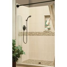 Shop American Bath Factory Mesa Molded Stone Shower Wall Surround Side and Back Panels (Common: 32-in x 60-in; Actual: 80-in x 32-in x 60-in) at Lowes.com