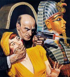Pulp art, girl woman dame captive hostage prisoner grasp gag gagged gun pistol shot shoot Egypt Egyptian mummy casket