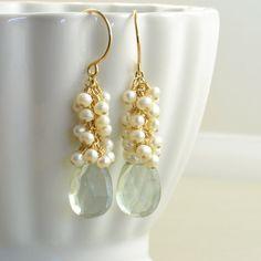 Green Amethyst Pearl Earrings