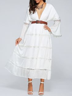 Plunging Neck Flare Sleeve Cut Out Belted Dress $28.50