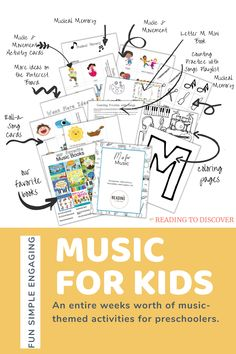 M is for Music Preschool Activities and Printables.  Fun and engaging book-based preschool activities and printables. This bundle includes an entire week of book and play-based music themed activities for your preschooler. Play games, count, and read books together. These activities include music playlists and book ideas for your preschooler or kindergartener.  #readingtodiscover #preschoolactivities #musicpreshoolactivity #musicactivity #alphabetactivity #lettermpreschoolactivity #mactivity Letter M Activities, Movement Activities, Music Activities, Book Letters, Music And Movement, Learning The Alphabet, Music For Kids, Toddler Learning, Playlists