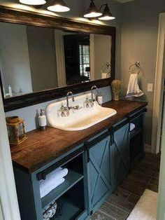 Farmhouse bathroom furnishings, bathroom inspiration, and master bathroom a few ideas. A round up of dream master bathroom designs, rustic bathroom ideas and tips for styling your powder rooms. Bathroom Vanity, Bathroom Interior, Vanity, Small Bathroom, Bathrooms Remodel, Rustic Bathroom, Bathroom Design, Double Vanity, Tile Bathroom