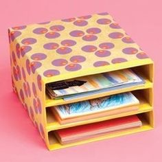 School DIY ~ Combine cereal boxes with tape, and decorate with scrap booking paper