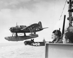 US Navy Lt Fred Hunter piloting an OS2U-3 Kingfisher of Cruiser Scouting Squadron 1 as it is catapulted off the cruiser USS Detroit in the Aleutians, 1943-44 Source   United States National Archives via D. Sheley  Added By David Stubblebine
