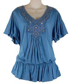 New Pretty Blue Boho Crochet Accent Blouson Top Plus Size 1X 2X 3X Trendy Comfy