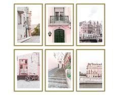 Room Decor Prints Set // Blush Decor Art Set of 6 // Prague Prints // Pink Wall Art // Travel Prints Set // Europe Gallery Wall Set