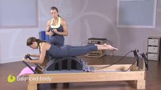 Innovative Reformer Routine by Balanced Body Inc.. Portia Page demonstrates a few prone work exercises that will spice up your Reformer classes with the help of a Pilates Arc. [swan dive, grasshopper, and single leg kicks]