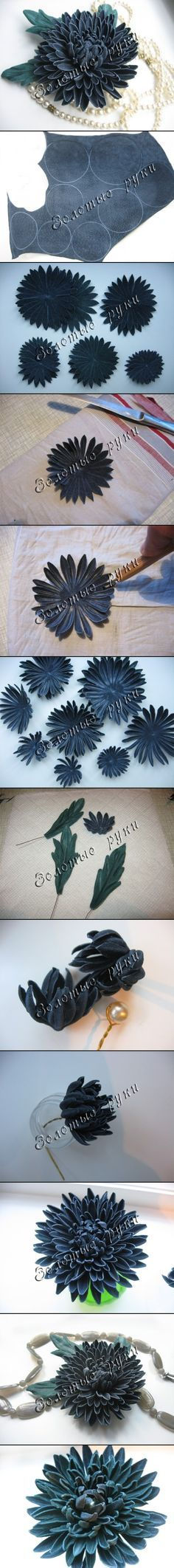 Leather chrysanthemum tutorial - it's done with suede, but the leather is treated with a 1:1 mix of water and white glue (polyvinyl acetate) before cutting/shaping. For the instructions, use Chrome and translate the page.