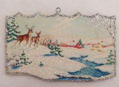 Deer Hills Farm Stream Heavy Snow Vtg Card Glittered Wood Christmas Ornament