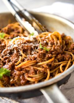 Spaghetti Bolognese - Thick, rich tomato sauce with gorgeous depth of flavour, on the table in 30 minutes! www.recipetineats.com
