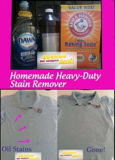 homemade-laundry-stain-remover -  Awesome!!❤️ I used this to take out stains in my daughters' little dresses that I had been storing for years to give to my 1st grand daughter!!  This stain remover worked beautifully to get rid of yellow stains.  What fun it was giving her dresses she had worn at her baby shower with pictures of her in them when she was little!!  (Warning: do NOT mix the baking soda with the hydrogen peroxide & Dawn. Sprinkle it on the clothing and spray the liquids on it…