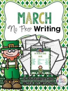 Doing the Daily Five during your language arts instruction time? This packet includes 16 no prep writing printables that are perfect for work on writing during the month of March. Each page includes a unique sentence starter that is sure to inspire even your most reluctant writers!