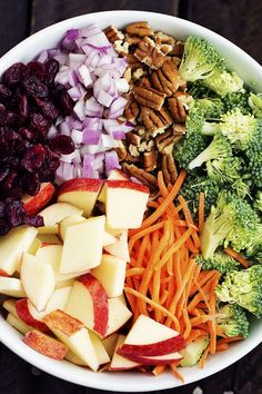 Broccoli, pecans, cranberries, carrots and apples come together with delicious flavors and textures. The creamy dressing makes this salad incredible!