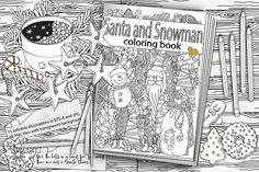 Santa and Snowman. Coloring book. by ImHope Graphic Art, Graphic Design, Zen Art, Ink Illustrations, Coloring Book Pages, Christmas And New Year, Zentangle, Snowman, Santa