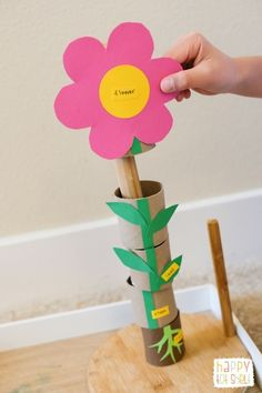 Learn parts of a flower with this TP Roll Learning Toy - Happy Tot Shelf Science Activities For Kids, Montessori Activities, Preschool Science, Learning Activities, Toddler Activities, Preschool Activities, Parts Of A Flower, Parts Of A Plant, Toddler Crafts
