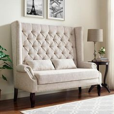 Kaylee light colored fabric high back tufted love seat entry dining bench. Love seat measures x x H. Banquettes, Sofa Furniture, Shabby Chic Furniture, School Furniture, Purple Furniture, Modular Furniture, Luxury Furniture, Leather Loveseat, Soft Seating