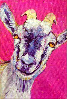 Happy goat painting by Nancy Stark
