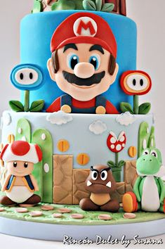 Super Mario Party, Super Mario Bros, Bolo Super Mario, Mario Birthday Cake, Super Mario Birthday, Boy Birthday Parties, Mario Bros Kuchen, Mario Bros Cake, Sonic Cake