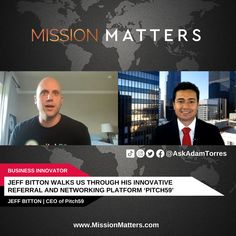 Jeff Bitton, CEO of Pitch59, was interviewed on the Mission Matters Innovation Podcast by Adam Torres. Networking and business pitches have now become seemingly more important in the corporate world. Addressing this demand, Jeff Bitton, CEO at Pitch59, shares his exciting platform for virtual pitches and takes us through the exceptional features offered by the application. Small Town America, Local News, Innovation, Interview, Platform, Community, Business, Heel, Store