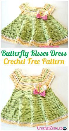 Crochet Butterfly Kisses Baby Dress FreePattern - #Crochet Girls Dress Free Patterns