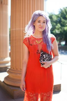 Wearing Shakuhachi lace dress, unicorn necklace and leopard clutch http://emiunicorn.com/lace/