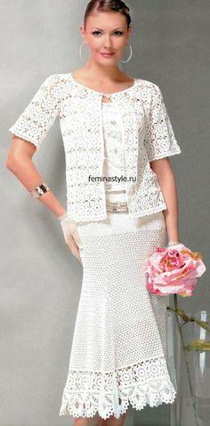 Irish crochet &: Белый костюм из ЖМ 559