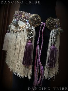Love the tassels with orissa beads! Tribal Fusion Belt with Fringe and Tassels Tribal Belly Dance Belt with Antique French Cream Silky Fringe and Tassels Cream Purple Mauve Gold Pearl