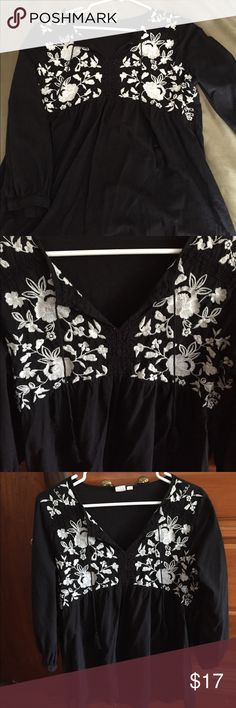 Gap Maternity Shirt Size M Black shirt with cream embroidery/ Gap Maternity Perfect for fall GAP Tops Blouses