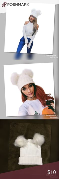 ☃️Never Worn Winter White Double Pom Hat☃️ This hat is super cute and has only been tried on once. Unfortunately I couldn't pull it off. My loss is your gain. 🤣 This hat is more of a winter white to light cream vs. a crisp white. Boutique Accessories Hats