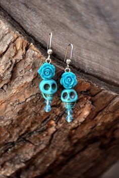 Turquoise Skull & Rose Earrings by HoleInHerStocking on Etsy, $8.00