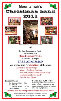 Christmas Land 2011 poster Non Perishable Foods, Free Admission, Photo Wall, Christmas, Poster, Xmas, Photograph, Weihnachten, Yule