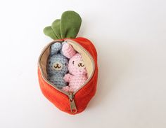 Two Small Crochet Amigurumi Bunny Rabbit in Orange Carrot Purse/Zipper Pouch Gift Set / Stuffed Toys - MADE TO ORDER, Choose your own color