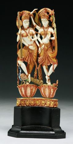 An Indian Antique Carved Gilt Ivory Goddesses.