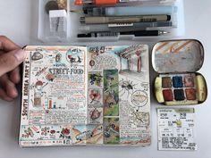 Interview: Avid Adventurer Reveals His Brilliant Travel Journal Ideas Cher Journal, Album Journal, Scrapbook Journal, Travel Scrapbook, Sketch Journal, Scrapbook Printables, Voyage Sketchbook, Travel Sketchbook, Bullet Journal Inspiration
