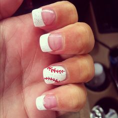 Going to be the best girlfriend and get these for my boy when his games start Baseball Nail Designs, Baseball Nail Art, Softball Nails, French Nails, Toenail Art Designs, Toe Nail Art, Nail Nail, Nail Polishes, Nagel Gel