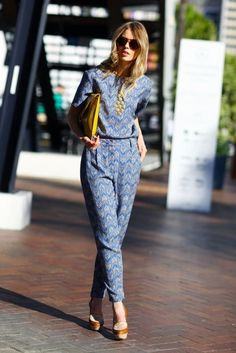 Patterned jumpsuit with colourful accessories...I've been thinking about getting myself a jumpsuit, I think it's time!
